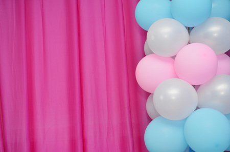 birthday presents: balloons frame on blank pink curtain  background Stock Photo