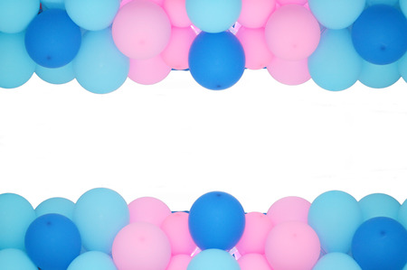 coloured background: balloons frame on blank white background
