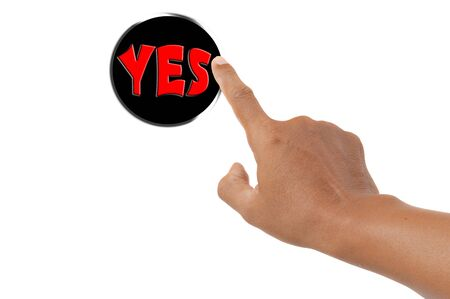 yes button: forefinger pressing yes button