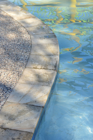 private parts: ceramic staircase in the pool Stock Photo