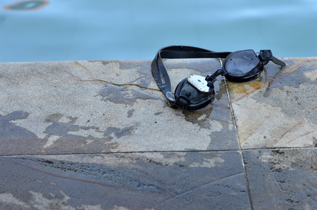 swimming goggles in the pool