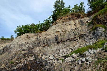 barren: barren hills due to dredging sand mining Stock Photo