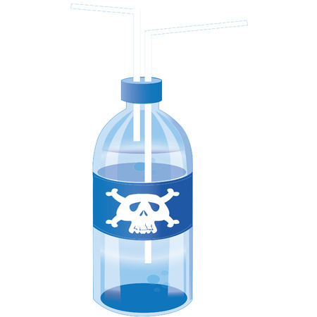 plactic: toxic drinking water on blue blue plactic bottle