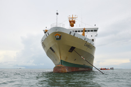 TARAKAN, INDONESIA 26TH OCTOBER 2016 ; ship Lambelu ran aground in shallow waters Tarakan City, Indonesia