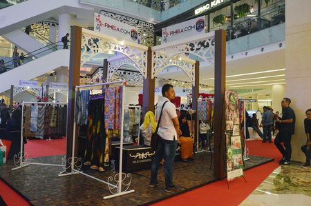 JAKARTA, INDONESIA. 20th August 2016. Tarakan typical batik exhibition in Fimela Fest 2016 at Gandaria City Mall Jakarta, Indonesia Stock Photo - 64740969