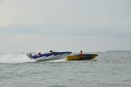 TARAKAN, INDONESIA. 6th November 2016. speedboat race in marine waters Tarakan Indonesia Editorial