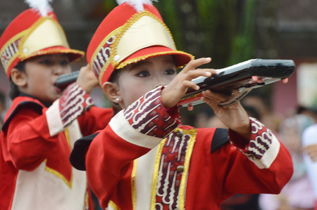 TARAKAN, INDONESIA. 22th January 2017.marching band competition at Don Bosco school Tarakan, Indonesia Editorial
