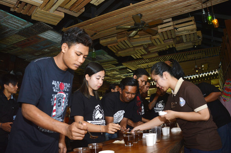 ata: TARAKAN, INDONESIA. 15th February 2017. Malabar mountain coffee - Borneo cupping trip ata Malabar Cafe Tarakan, Indonesia Editorial