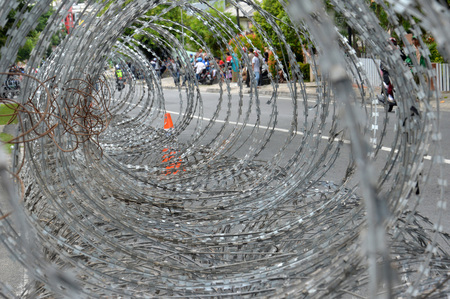 iron wire barricades Stock Photo