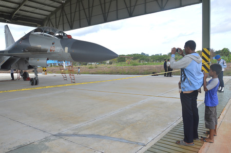 TARAKAN, INDONESIA. March, 6,  2017. static show Sukhoi aircraft of the Indonesian Air Force on cornerstone of the air force shelter Tarakan City Indonesia Editorial