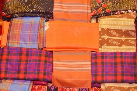 Indonesian woven silk sarong background Stock Photo