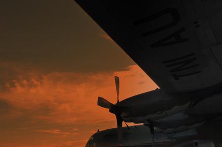 TARAKAN, INDONESIA. March, 10,  2017. Hercules military airplane at the static show Sukhoi aircraft of the Indonesian Air Force on cornerstone of the air force shelter Tarakan City Indonesia