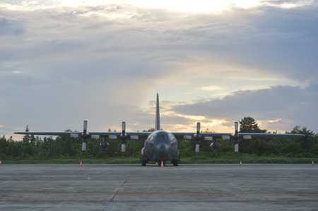 TARAKAN, INDONESIA. March, 10,  2017. Hercules military airplane at the static show Sukhoi aircraft of the Indonesian Air Force on cornerstone of the air force shelter Tarakan City Indonesia