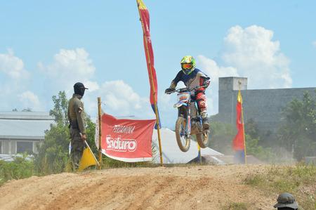 TARAKAN, INDONESIA - MAY ,13, 2017, : Grasstrack & Enduro Race Mayor Cup Season 3 Kejurprov Tarakan 2017 series at MAKO Brimob circuit Tarakan City, INDONESIA