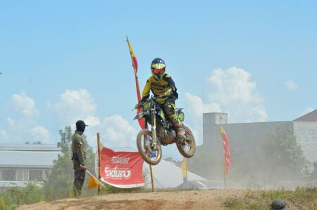 motorcross: TARAKAN, INDONESIA - MAY ,13, 2017, : Grasstrack & Enduro Race Mayor Cup Season 3 Kejurprov Tarakan 2017 series at MAKO Brimob circuit Tarakan City, INDONESIA