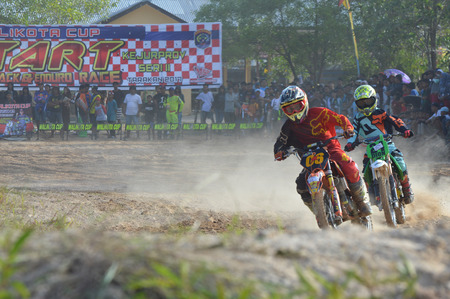 TARAKAN, INDONESIA - MAY ,13, 2017, : Grasstrack & Enduro Race Mayor Cup Season 3 Kejurprov Tarakan 2017 series at MAKO Brimob circuit Tarakan City, INDONESIA
