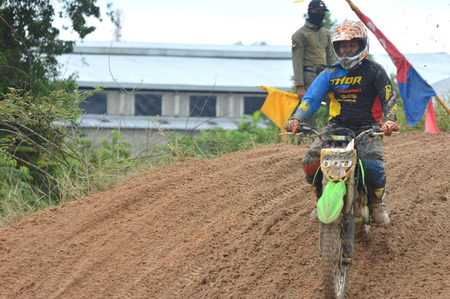 TARAKAN, INDONESIA - MAY ,14, 2017, : Grasstrack & Enduro Race Mayor Cup Season 3 Kejurprov Tarakan 2017 series at MAKO Brimob circuit Tarakan City, INDONESIA
