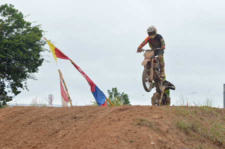 motorcross: TARAKAN, INDONESIA - MAY ,14, 2017, : Grasstrack & Enduro Race Mayor Cup Season 3 Kejurprov Tarakan 2017 series at MAKO Brimob circuit Tarakan City, INDONESIA