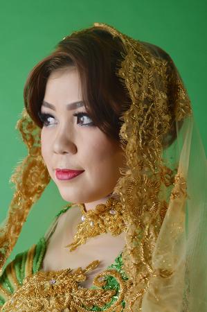 Portrait of beautiful asian woman wearing modern kebaya cloth Stock Photo