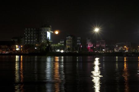MAKASSAR - INDONESIA, 11th November 2011 : Losari Beach Makassar Indonesia Panorama at night