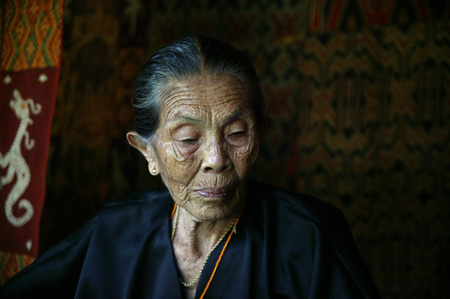 TORAJA, INDONESIA. 1st July 2009. portrait of Toraja old woman traditional cloth weavers