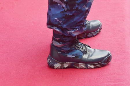 black military boots Stock Photo