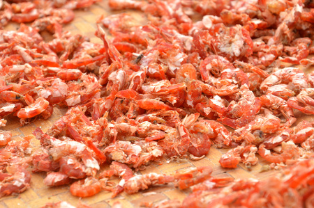 dry shrimp on the tray Stock Photo