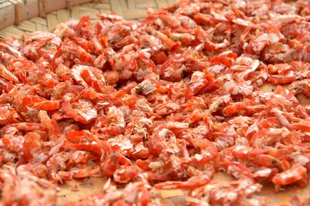 dry shrimp on the tray Stock Photo