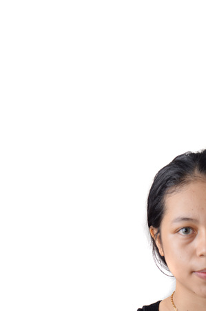 Portrait of natural face asian woman without makeup in studio shoot