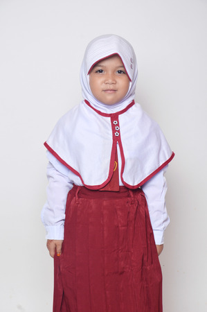 expression asian little girl with primary school uniform