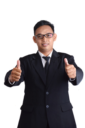 Asian male businessman in a suit make two thumb on white background