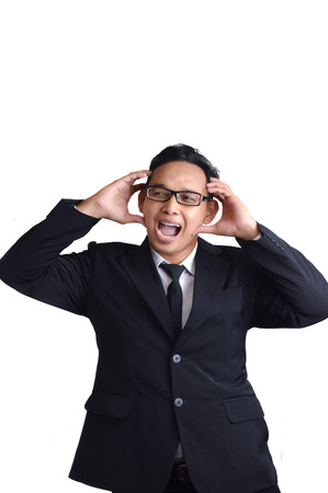 Asian male businessman stress on white background