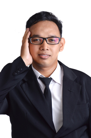 asian male businessman sick on white background