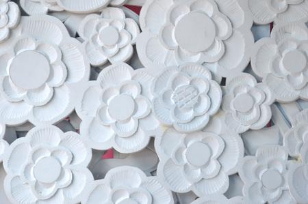 white styrofoam florals ornament background