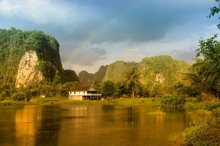 Village panorama in Rammang-rammang with karst mountains on South Sulawesi