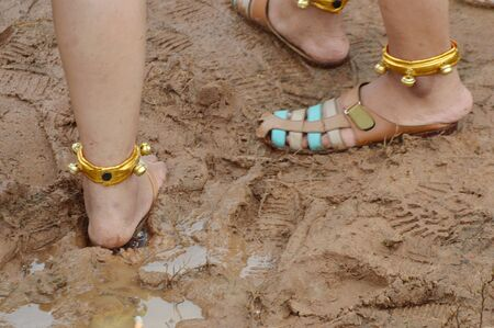 traditional anklet on a woman's feet