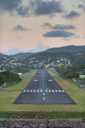 A small landing strip runway on the Caribbean island of St Lucia