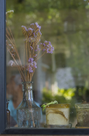 a jar stand: Vintage style still life with dried flowers on the window