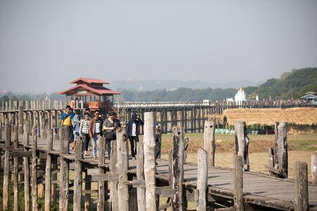 The oldest teak bridge named U BEIN Bridge is located in Mandalay, Myanmar.