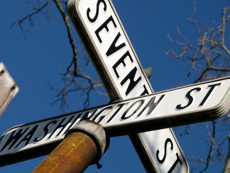 Old style US Road signs on the corner of Washington and &th Street in Hoboken New Jersey Stock Photo