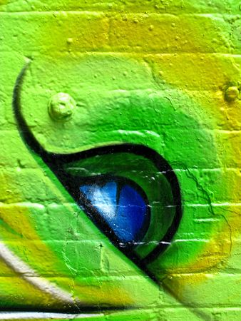 segment of grafitti on a wall of a derelict building