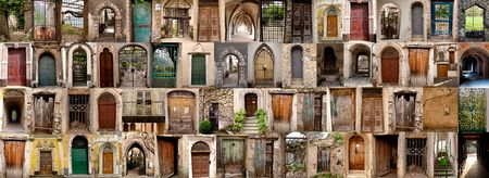 archway: composite of doors located in the Amalfi region in Italy Stock Photo