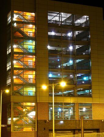 carpark and staircase at night Stock Photo