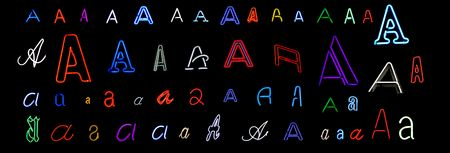 collection of a number of different neon letter A isolated on black - part of a series of neon letters