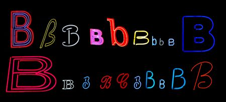collection of a number of different neon letter B isolated on black - part of a series of neon letters