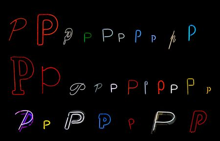 collection of a number of different neon letter P isolated on black - part of a series of neon letters photo