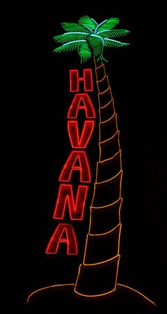 neon palm tree and Havana sign isolated on black Stock Photo