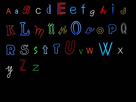 neon alphabet collection - A to Z