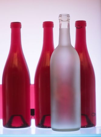 collection frosted glass wine bottles