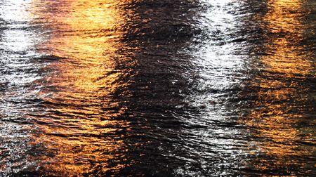 water illuninated at night